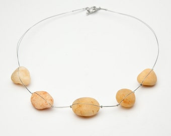 Wadi Rum; Contemporary necklace with desert 'pearls'.  Star Wars, ethical, environment, nature, middle east, bedouin, local, pebble