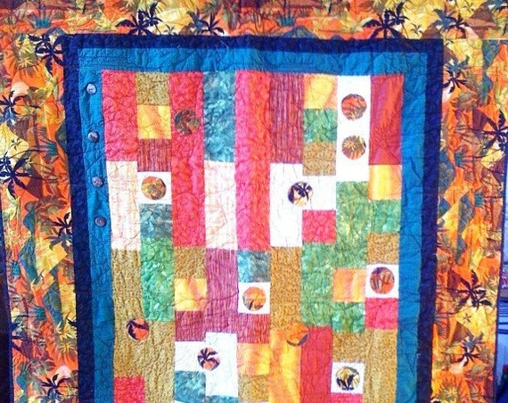 Fall in Love With Island Life, 46 x 64 quilted wallhanging