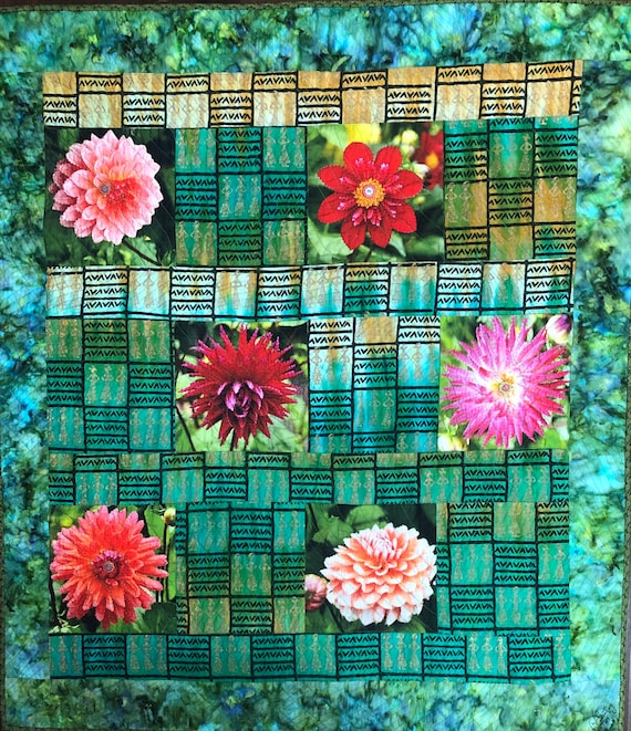 Morning Meditation with My Flowers, 40x45 inch art quilt