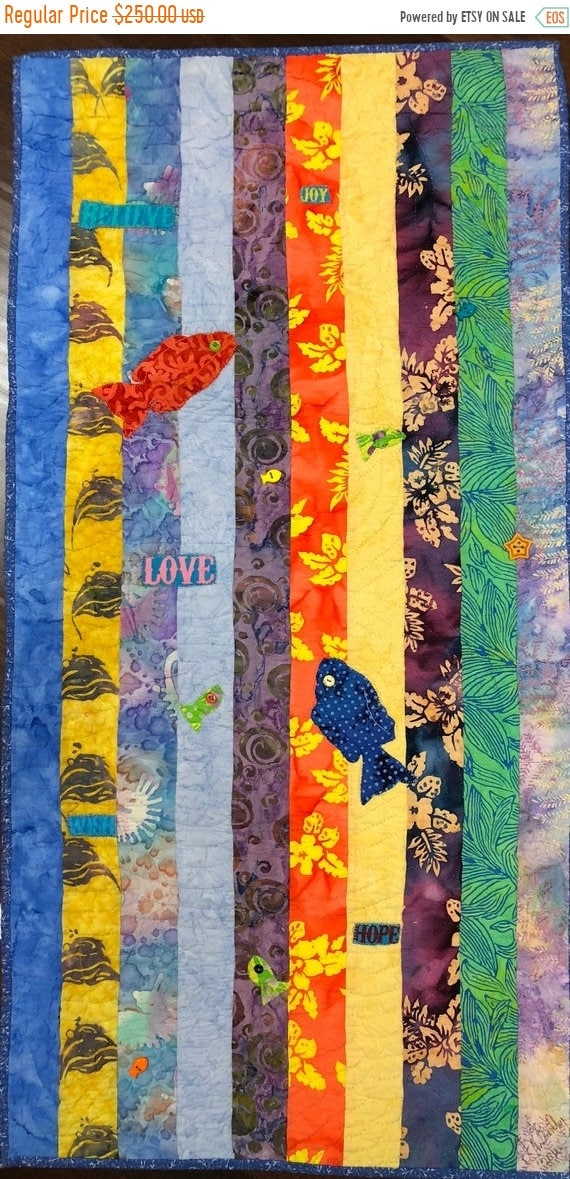 ATL QUILT FEST Swimming Upstream, Number 3, 19 x 39 inch art quilt