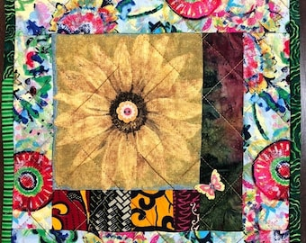 Hello Summer Sale Sassy Sunflowers in My Library #1 mini art quilt