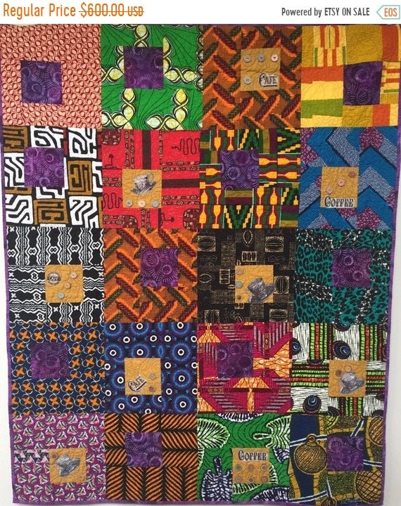 Black History Sale Morning Coffee on My Patio, 42x52 inch art quilt