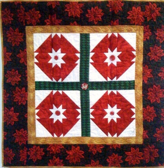 Stars Over My Christmas Garden, 35 x 35 inch art quilt