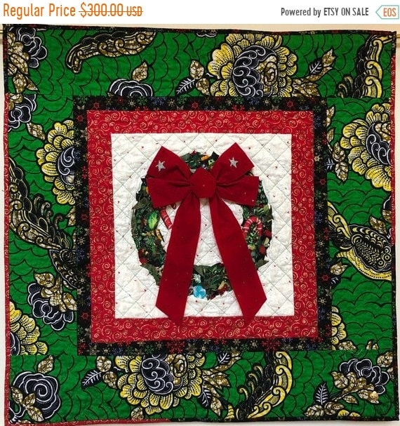 Black History Sale Ancestral Wreath 33x33 inch Quilted Holiday Wreath