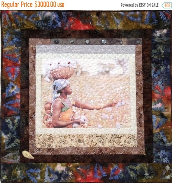 ON SALE Strength and Grace 36 x 36 inch quilted wallhanging
