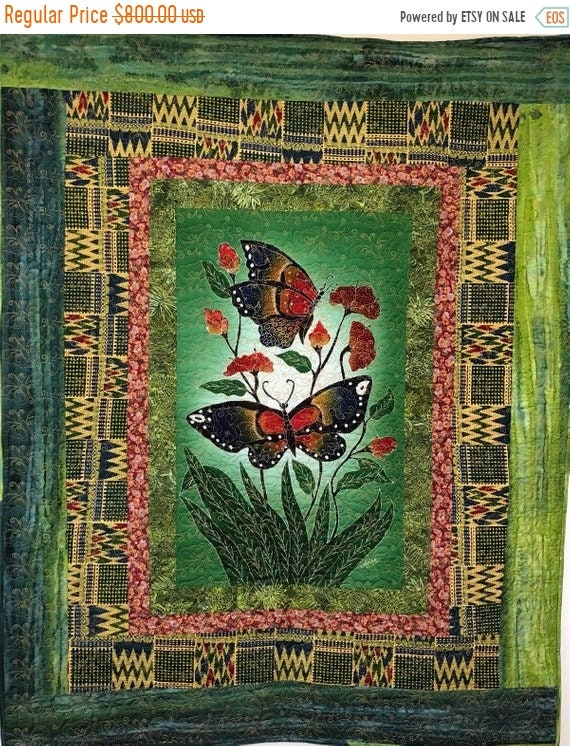 DISCOUNT Butterflies From Bali Come to Visit 40x48 inch art quilt