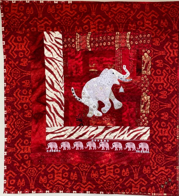 Racism — the White Elephant in the Room 26x28 inch art quilt