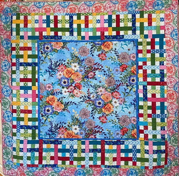 Give Yourself Flowers on a Perfect Day, 65x65 inch floral art quilt
