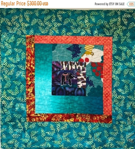 DISCOUNT Kissed by an Elephant #3 32x32 inch art quilt