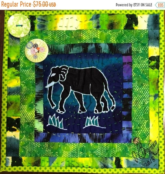 FALL SALE Strong Elephants in My Library #3 -- a 10 inch art quilt