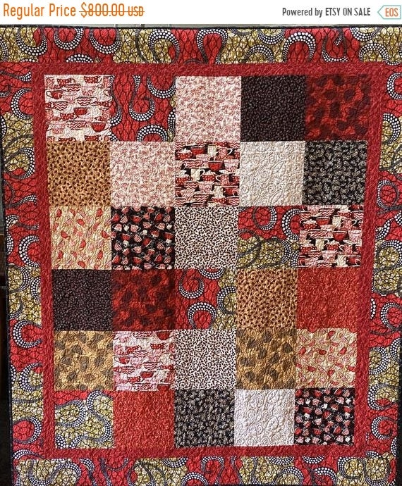 Holiday Sale Exotic Coffee. 56x64 inch coffee quilt