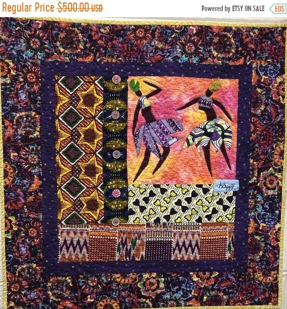 Juneteenth sale Be Happy, 28x28 inch hand quilted art quilt