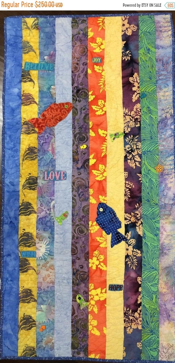 On Sale Swimming Upstream, Number 3, 19 x 39 inch art quilt
