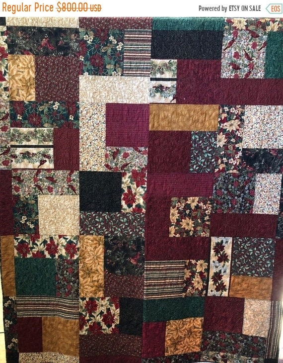 FALL SALE Christmas Bling 70 x 86 inch Christmas lap quilt
