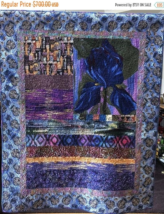 DISCOUNT Give Yourself A Blue Bouquet, 44x56 inch art quilt