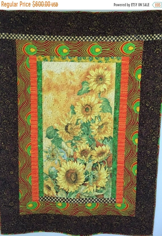 FALL SALE Sun in My Heart, 46x63 inch art quilt