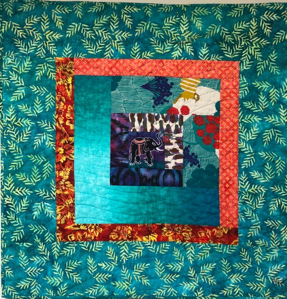 Kissed by an Elephant #3 32x32 inch art quilt