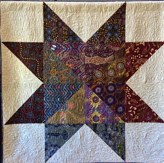 Dream Upon Your Distant Star, 65x65 inch quilted wallhanging