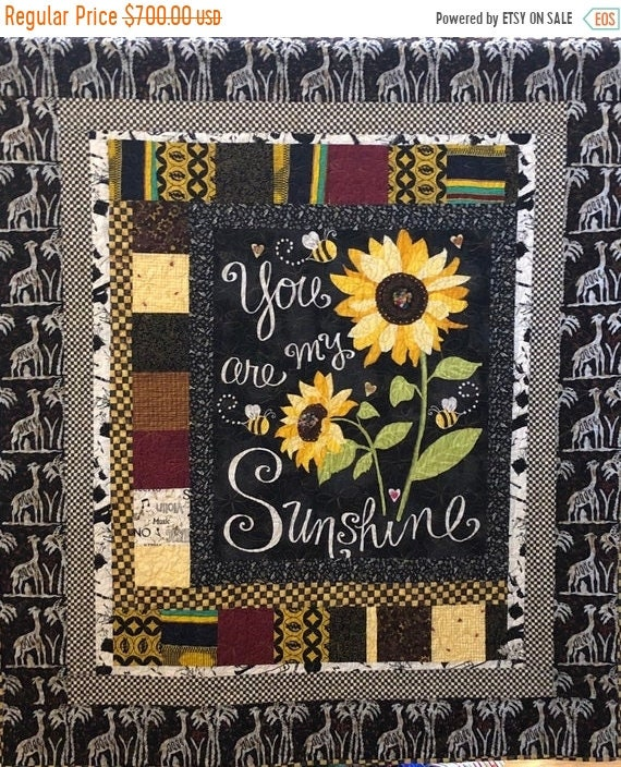 FALL SALE Do You Know You Are My Sunshine? 50x56 inch embellished art quilt