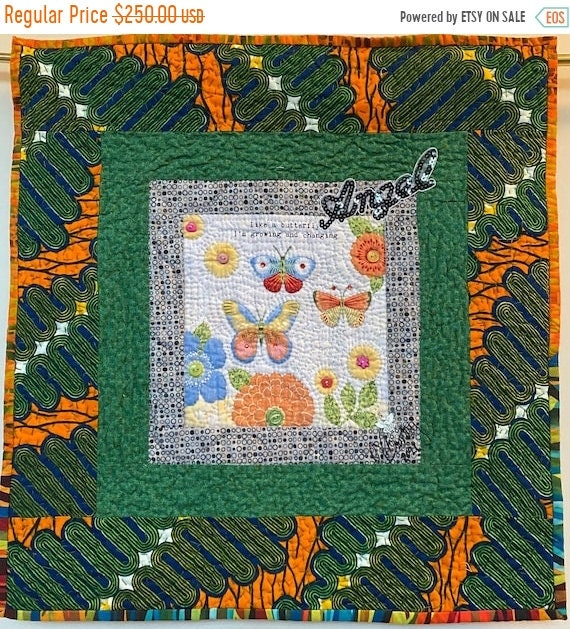 Fall sale Whispers From My Angels #3 hand quilted art quilt