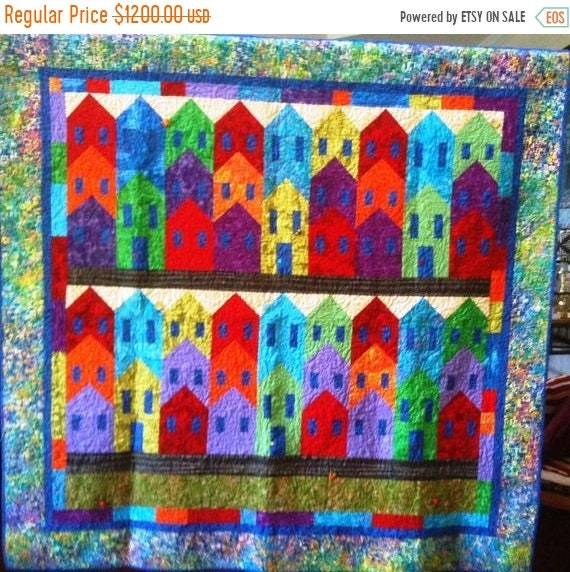 HOLIDAY SALE Island City 70 x 67 inch colorful art quilt