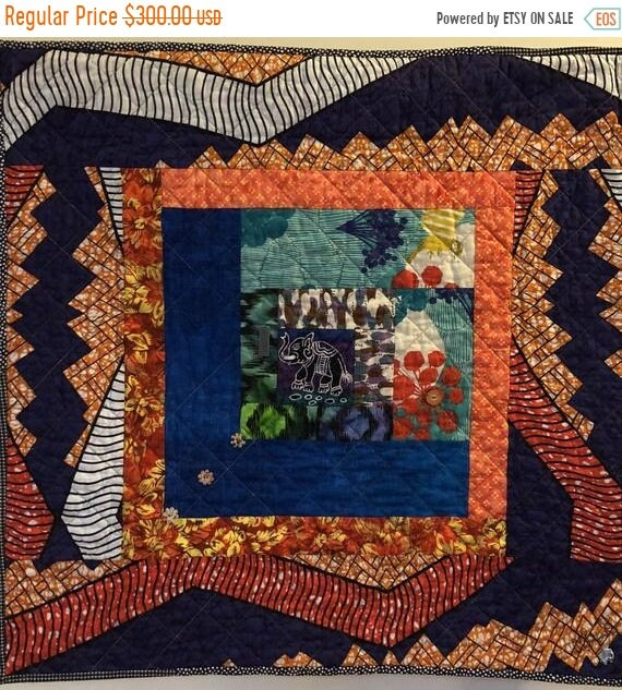 Holiday Sale Kissed By An Elephant #1 art quilt