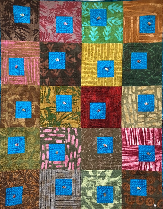 Caribbean Reflection 42x54 inch hand quilted art quilt