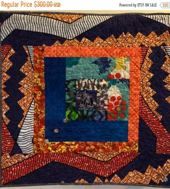 FALL SALE Kissed By An Elephant #1 art quilt