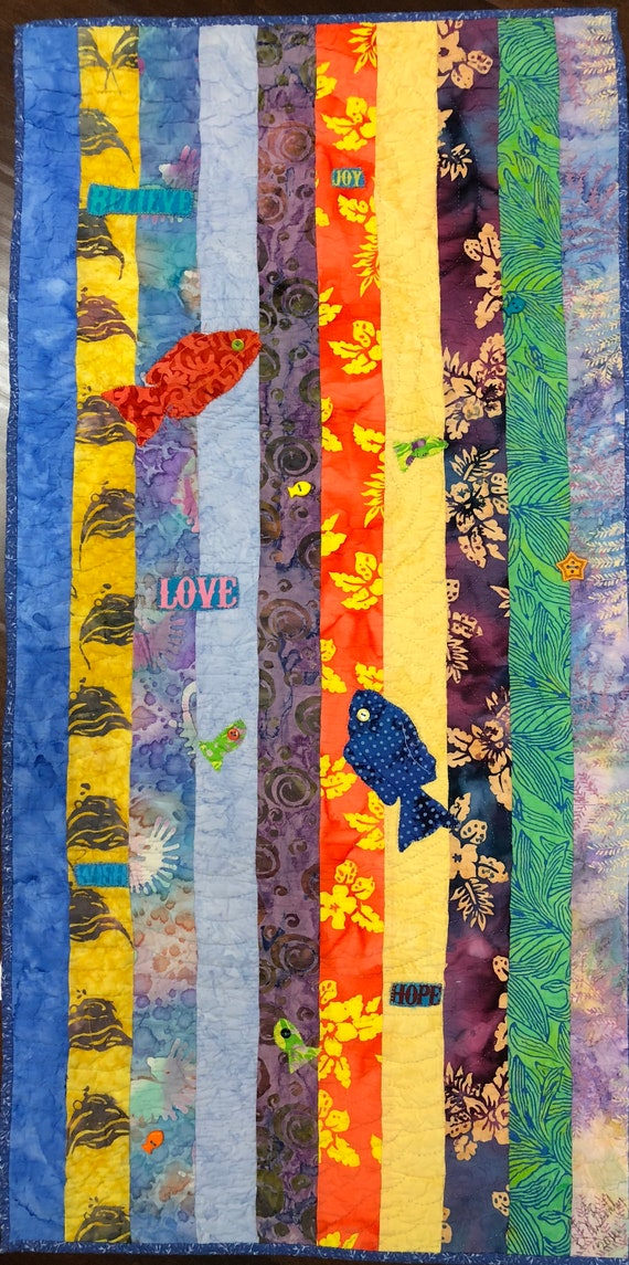 Swimming Upstream, Number 3, 19 x 39 inch art quilt