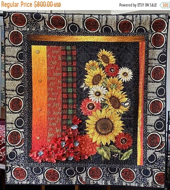 HOLIDAY SALE Give Yourself Southern Christmas Flowers, 49x52 inch art quilt
