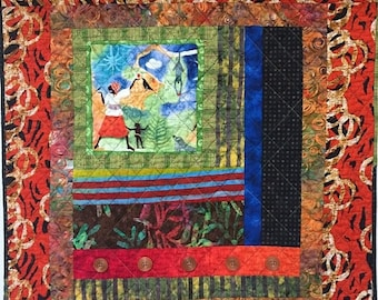 Hello Summer Sale Grateful For Another Happy Day #5 art quilt