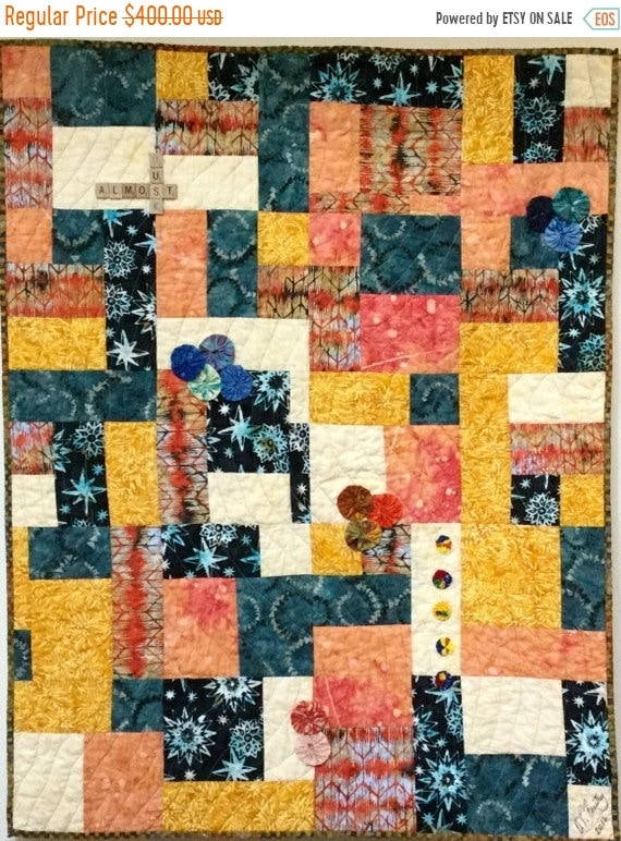 Fall sale Just Before Dusk 36x45 inch quilted wallhanging
