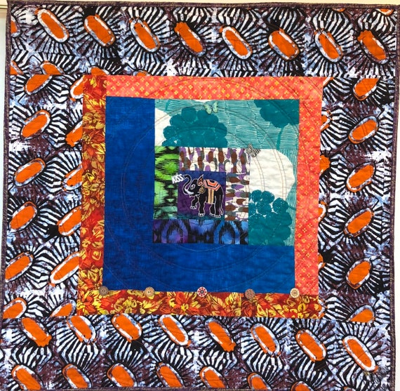 Kissed By an Elephant #8, 31x31 inch art quilt