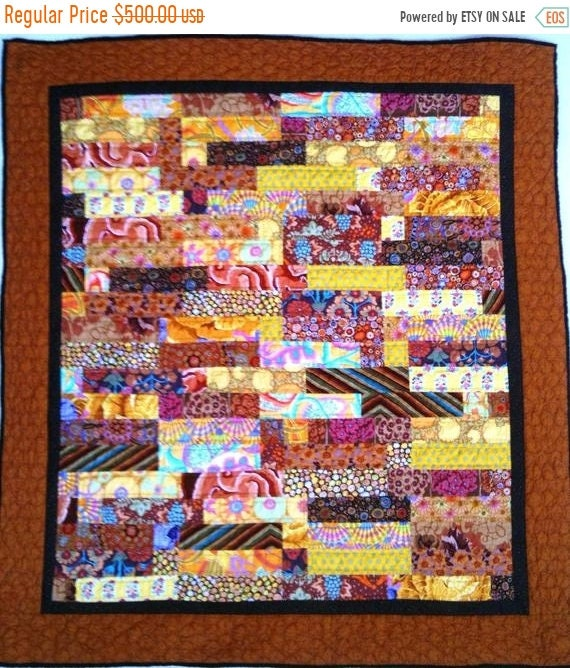 Summer Sale Almost Fall 48 x 51 inch hand quilted art quilt