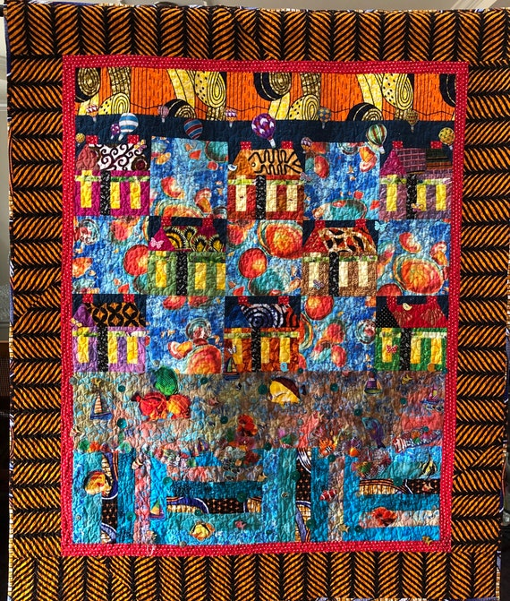 Beach Houses at Sunset 46x55 inch art quilt