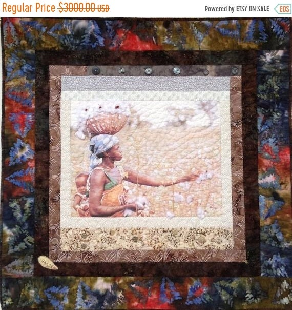 FALL SALE Strength and Grace 36 x 36 inch quilted wallhanging