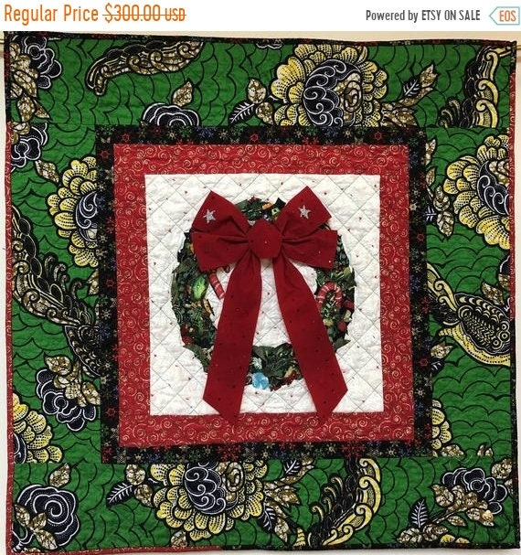Holiday Sale Ancestral Wreath 33x33 inch Quilted Holiday Wreath