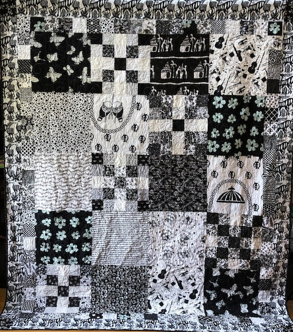 Friendship in Black and White, 70x88 inch heirloom black and white quilt