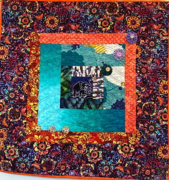 Kissed By an Elephant #9, 31x31 inch art quilt