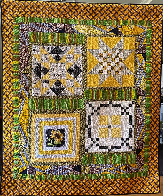 Sing a Happy Song 54x65 inch traditional quilted wallhanging