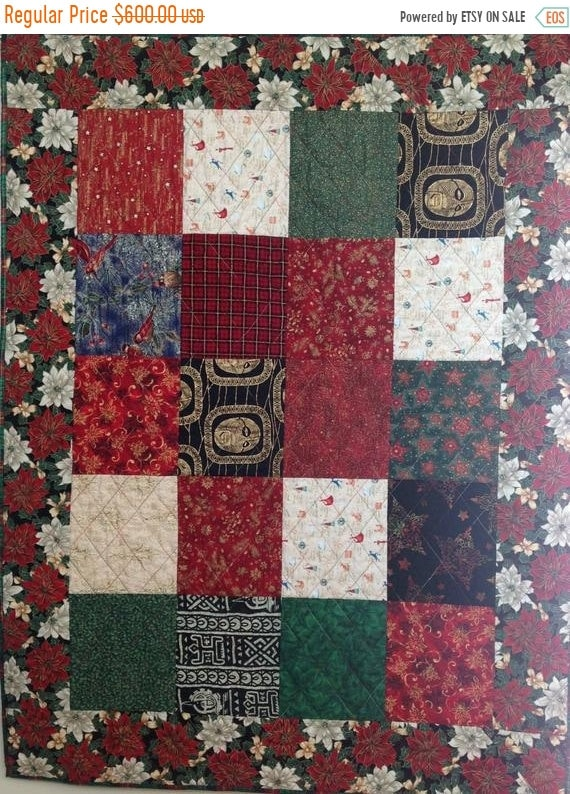 Holiday Sale Ancestral Christmas 42 x 55 inch art quilt wallhanging
