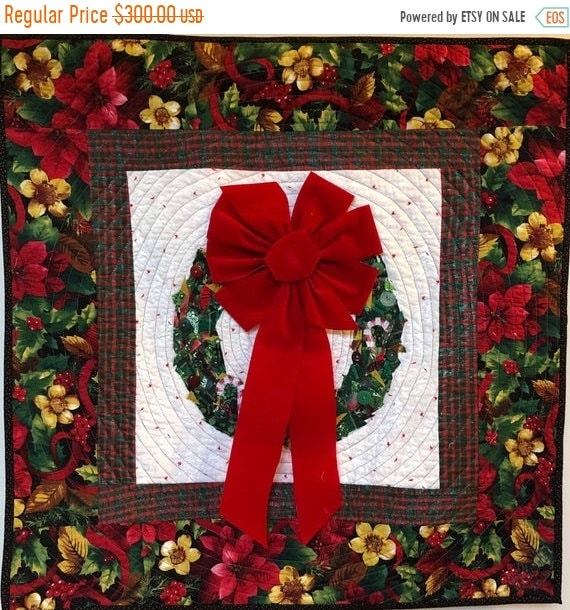 Holiday Sale Welcome Wreath 29x29 inch quilted and embellished Christmas wreath