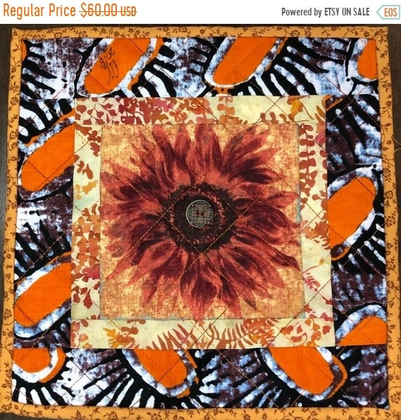 ON SALE Sassy Sunflowers in My Library #3 10x10 inch mini art quilt