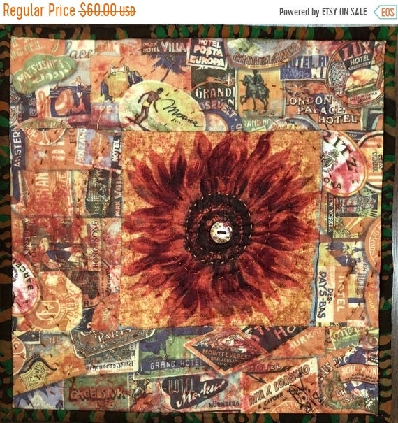 Holiday Sale Sassy Sunflowers in My Library #2 10x10 inch mini art quilt