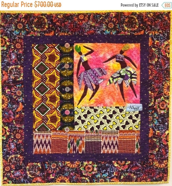 FALL SALE Be Happy! 28x28 inch hand quilted art quilt