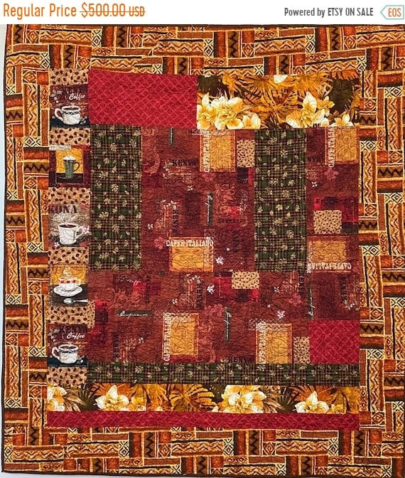 Fall sale Strong Safari Coffee, 43x48 inch quilted wallhanging