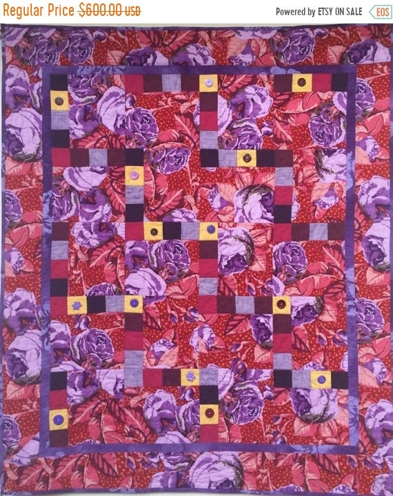 On Sale Feeling Fat? Give Yourself Big Purple Flowers art quilt
