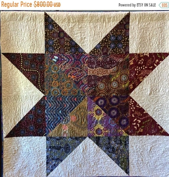 FALL SALE Dream Upon Your Distant Star, 65x65 inch quilted wallhanging