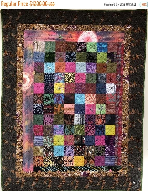 FALL SALE Playing in the Dirt 39x47 inch art quilt