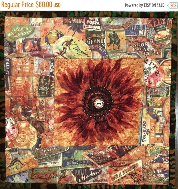 Summer Sale Sassy Sunflowers in My Library #2 10x10 inch mini art quilt